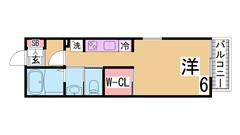 垂水駅徒歩圏の人気のシャーメゾン ウォークインクローゼット付 202の間取
