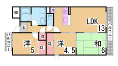 神戸親和女子大徒歩3分のレディースハイツ TVモニターホン オートロック付 202の間取