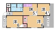 兵庫駅スグのエレベーター付きマンション 浴槽やキッチン等入れ替え済み 303の間取