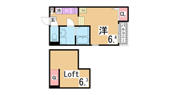 オートロック・システムキッチン(ガス2口)・浴室乾燥・ロフト付・ネット無料^^ 103の間取