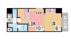 H22.6月全面改装^^冷蔵庫・洗濯機・照明器具・TV・ベッド付^^ 206の間取