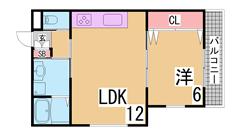 ペット(犬猫)OK 広々1LDK 高台なので1階でも高さあり オーシャンビュー 201の間取