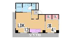 ワンフロアー1戸の広々19帖カウンターキッチン・浴室乾燥付^^ 201の間取