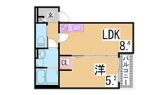 敷金礼金0円 インターネット無料 オートロック・システムキッチン・追焚・浴室乾燥 101の間取