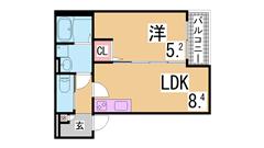 敷金礼金0円 インターネット無料 オートロック・システムキッチン・追焚・浴室乾燥 302の間取