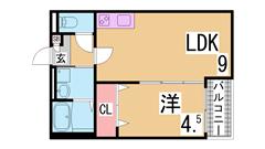 敷金礼金0円 インターネット無料 システムキッチン 追焚 浴室乾燥等設備充実 102の間取