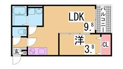 敷金礼金0円 インターネット無料 システムキッチン 追焚 浴室乾燥等設備充実 103の間取