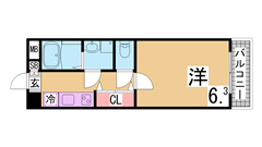 人気の松野通りの築浅マンション 2口システムキッチン 三点セパレート 414の間取