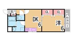 2口ガスシステムキッチン^^オートロック^^三点セパレート^^神戸女子大生に人気 404の間取