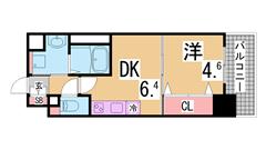学生さんに人気の広々1K^^ペットOK^^神戸学院性に人気^^ 206の間取
