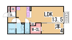 システムキッチン・ウォークインクローゼット付きの築浅ハイツ^^駅もすぐ^^ 202の間取