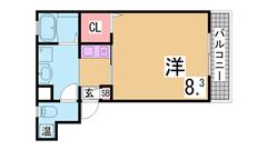 ウォークインクローゼット・システムキッチン付の築浅ハイツ ネット無料 203の間取