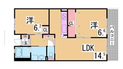 フレール兵庫浜崎通 28-203の間取