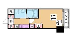 谷上駅目の前の築浅1DK システムキッチン・シャンプードレッサー付 201の間取