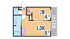 マイクロバブルトルネード・セコムセキュリティー・オール洋室の築浅^^ 201の間取
