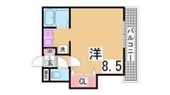 神戸女子大生に人気の駅近セパレート^^ 203の間取