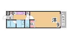 広々洋室 三点セパレート 南向きバルコニー 神戸の夜景が一望です^^ 108の間取