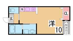 洋室10帖 カウンターキッチン・三点セパレート・ウォシュレット オール電化 102の間取