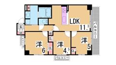 システムキッチンガス2口・シャンプードレッサー^^神戸親和女子大生に人気です^^ 105の間取