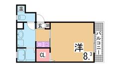 オートロック付駅近オール電化マンション 神戸親和女子大生に人気 202の間取