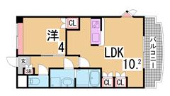 人気の1LDK^^インターネット料金無料^^カウンターキッチン・大型CL^^ 201の間取