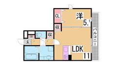 敷金礼金0円^^新築ロフト付デザイナーズ^^インターネット料も無料^^ 101の間取