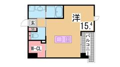 新快速停車神戸駅すぐ インターネット無料 人気のビッグワンルーム 602の間取