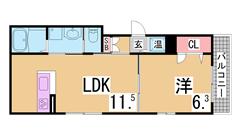 ペットOKのオール電化築浅マンションオートロック・システムキッチン 401の間取