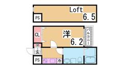 敷金礼金0円^^インターネット無料の築浅デザイナーズ^^ 103の間取