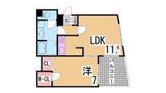 神戸女子大生に人気のハイツ^^二口システムキッチン・セキュリティもバッチリ^^ 206の間取