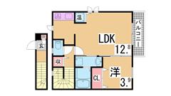 オール電化^^システムキッチン付の人気の五色山^^室内美麗^^ 203の間取