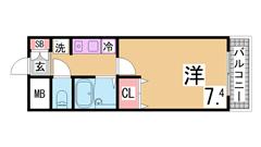 スーパーライフすぐの駅前マンション IHキッチン オートロック付^^室内美麗^^ 202の間取